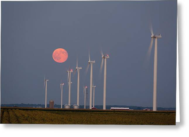 Indiana Landscapes Greeting Cards - Wind Farm Moonrise Greeting Card by Alexey Stiop