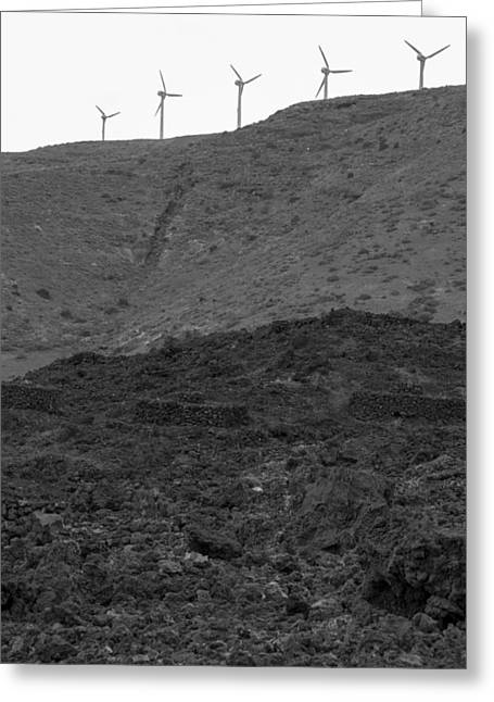 Global Greens Greeting Cards - Wind Farm on Hill Greeting Card by Chay Bewley