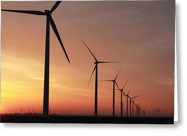 Indiana Photography Pastels Greeting Cards - Wind Farm Sunrise Greeting Card by Jackie Novak