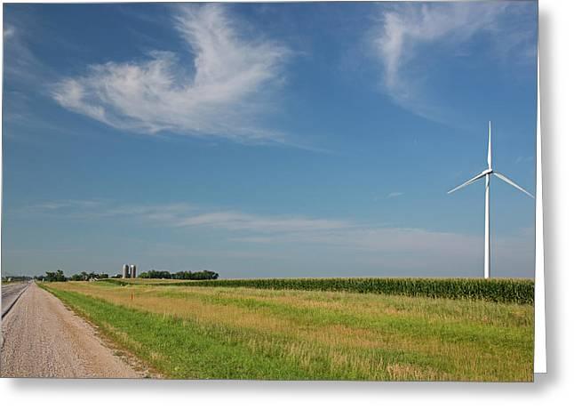 Wind Farm Turbine In Iowa Greeting Card by Jim West
