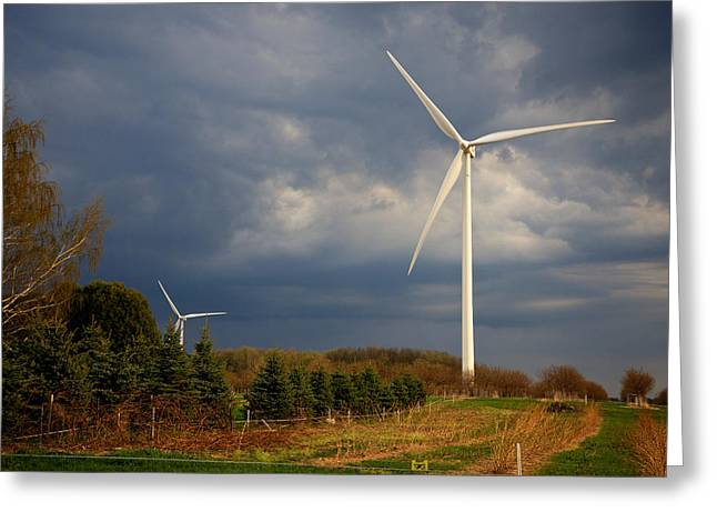 Generators Greeting Cards - Wind Generator Against Clouded Sky Mason County Michigan Greeting Card by Mary Lee Dereske