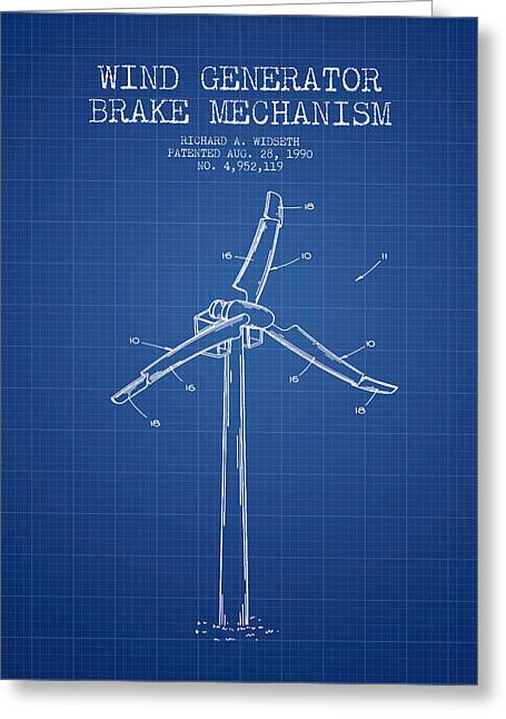 Generators Greeting Cards - Wind Generator Break Mechanism Patent from 1990 - Blueprint Greeting Card by Aged Pixel
