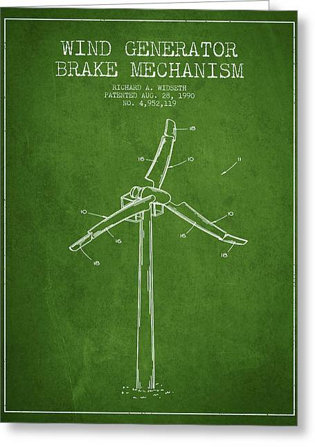 Renewable Energy Greeting Cards - Wind Generator Break Mechanism Patent from 1990 - Green Greeting Card by Aged Pixel