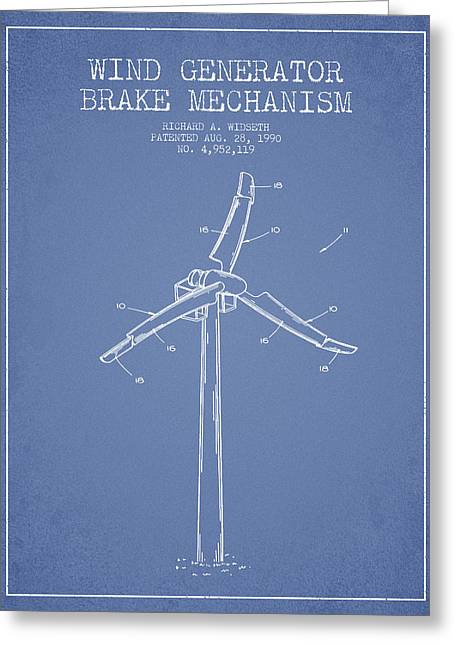 Generators Greeting Cards - Wind Generator Break Mechanism Patent from 1990 - Light Blue Greeting Card by Aged Pixel
