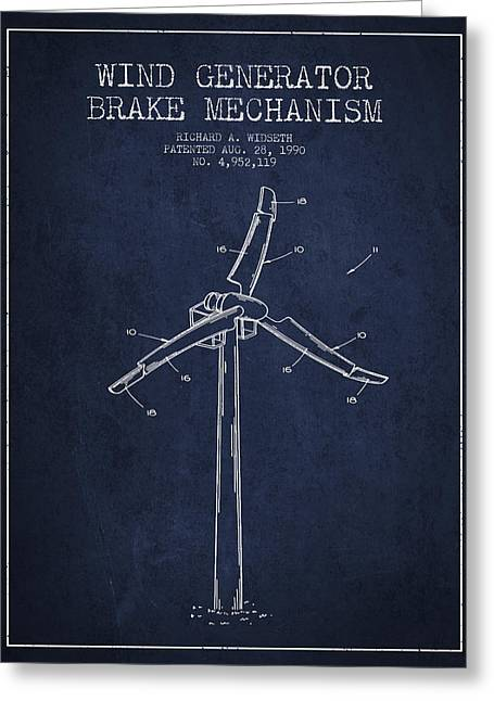 Renewable Energy Greeting Cards - Wind Generator Break Mechanism Patent from 1990 - Navy Blue Greeting Card by Aged Pixel