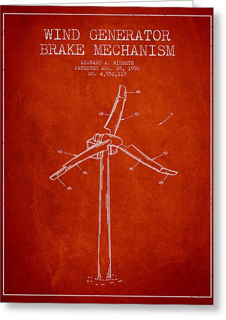 Renewable Energy Greeting Cards - Wind Generator Break Mechanism Patent from 1990 - Red Greeting Card by Aged Pixel