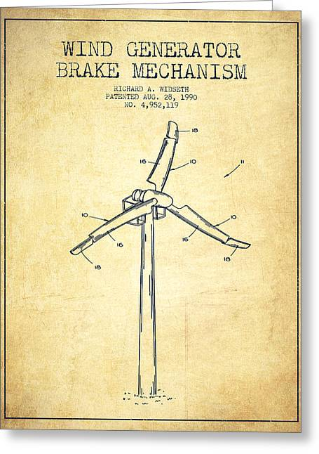 Renewable Energy Greeting Cards - Wind Generator Break Mechanism Patent from 1990 - Vintage Greeting Card by Aged Pixel