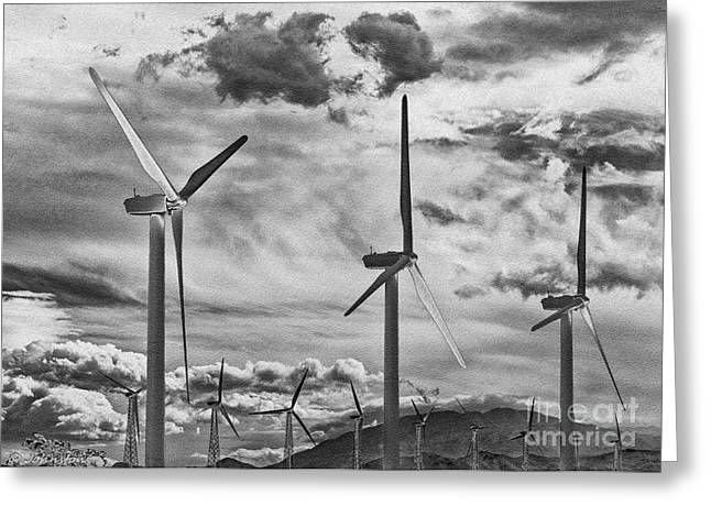 Generators Greeting Cards - Wind Generators or Turbines Palm Springs Greeting Card by  Bob and Nadine Johnston