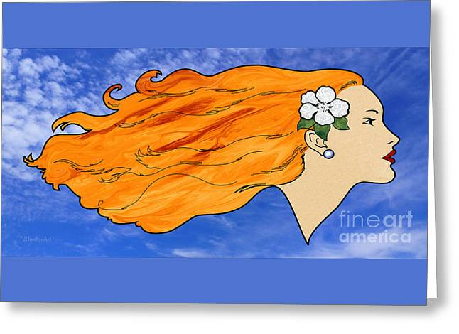 Woman With Long Hair Greeting Cards - Wind In My Hair Greeting Card by Methune Hively