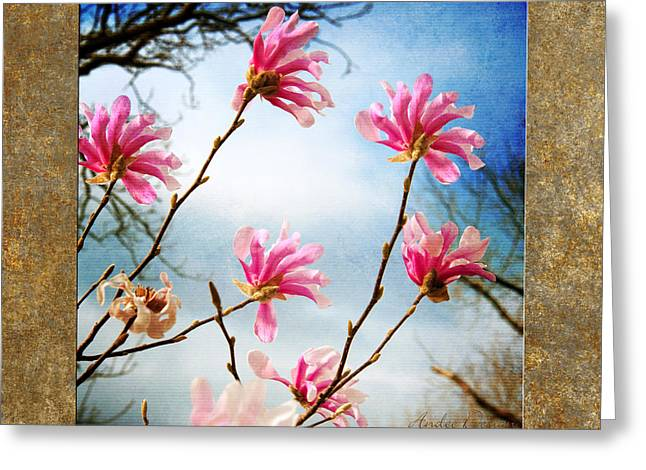 Beauty In Nature Mixed Media Greeting Cards - Wind In The Magnolia Tree Square Greeting Card by Andee Design