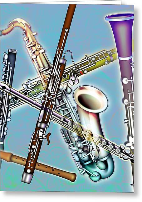 Saxophone Photographs Greeting Cards - Wind Instruments Greeting Card by Design Pics Eye Traveller
