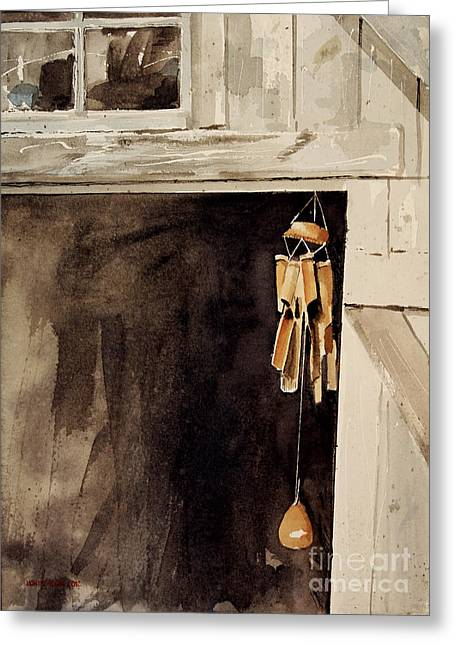 Wind Chimes Greeting Cards - Wind Music Greeting Card by Monte Toon
