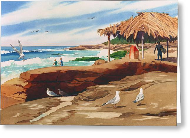 Shack Greeting Cards - Wind n Sea Beach La Jolla California Greeting Card by Mary Helmreich