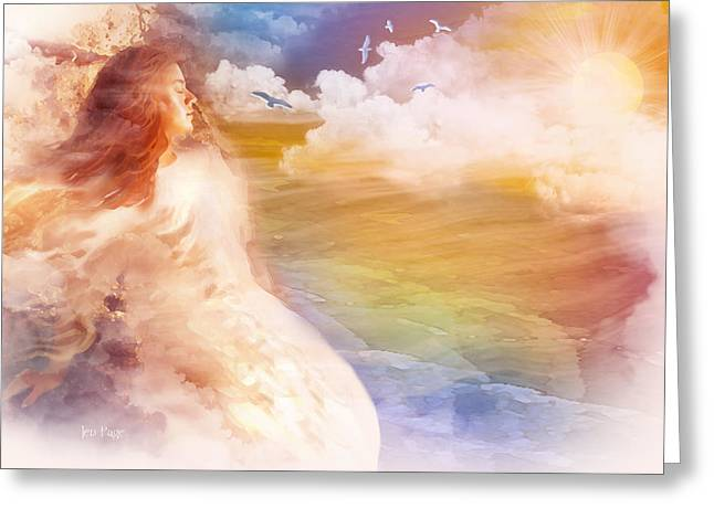 Spiritual Portrait Of Woman Greeting Cards - Wind of His Glory Greeting Card by Jennifer Page