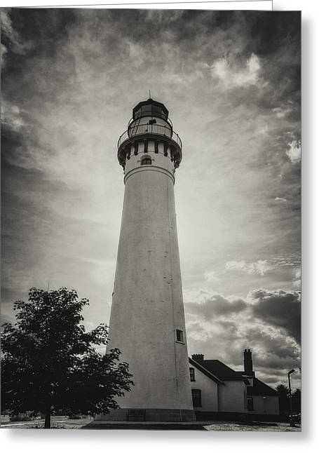 Usa Photographs Greeting Cards - Wind Point Lighthouse Silhouette in Black and White Greeting Card by Joan Carroll