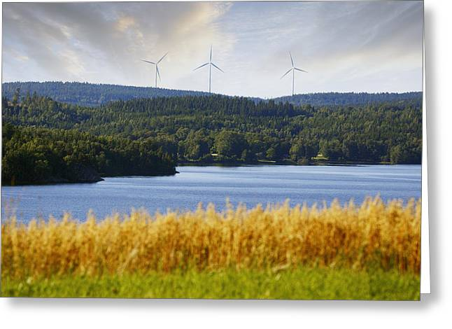 Environment-friendly Greeting Cards - Wind Power And Nature Greeting Card by Christian Lagereek