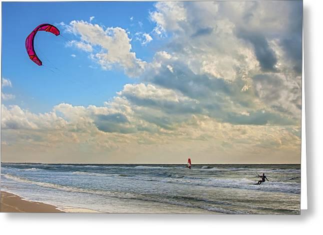 Kiteboarding Greeting Cards - Wind Power Greeting Card by Bob Skalkowski