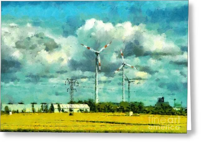 Wind Power Generators Greeting Card by Magomed Magomedagaev