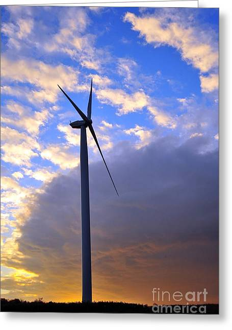 Weather Greeting Cards - Wind Power Greeting Card by Terri Gostola