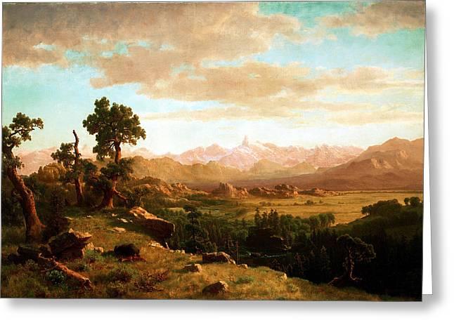 Bierstadt Digital Art Greeting Cards - Wind River Country Greeting Card by Albert Bierstadt