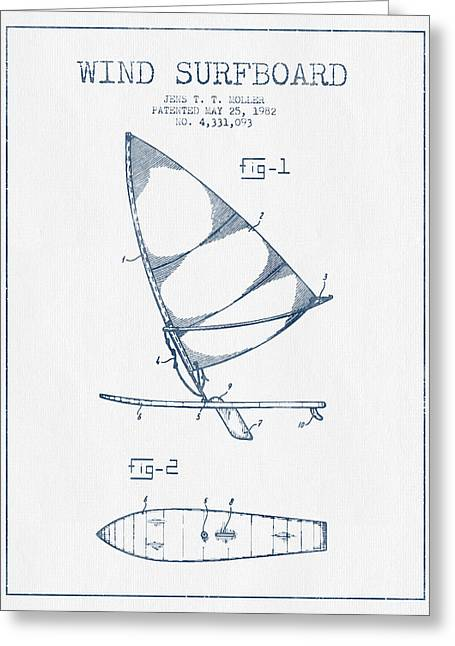 Surfer Art Greeting Cards - Wind Surfboard patent drawing from 1982  -  Blue Ink Greeting Card by Aged Pixel