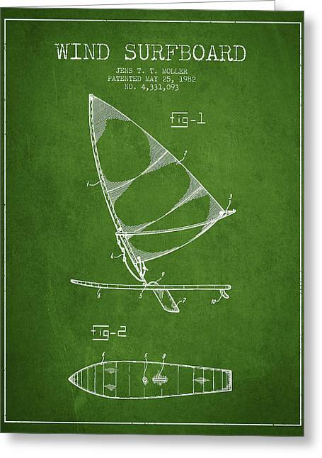 Surfer Art Greeting Cards - Wind Surfboard patent drawing from 1982 - Green Greeting Card by Aged Pixel