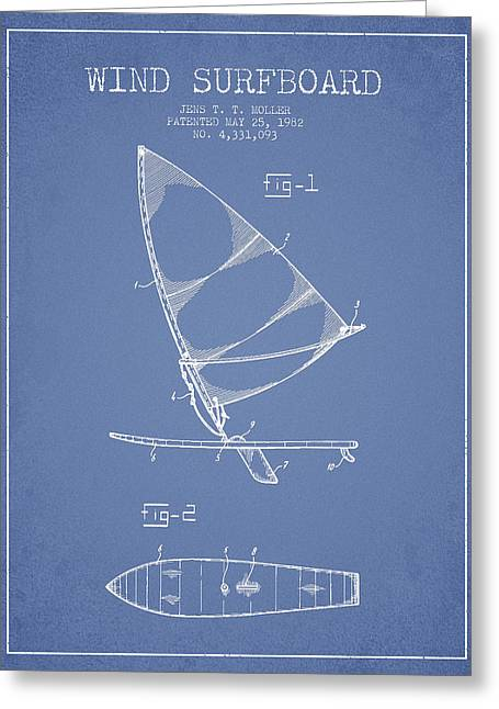 Surfer Art Greeting Cards - Wind Surfboard patent drawing from 1982 - Light blue Greeting Card by Aged Pixel