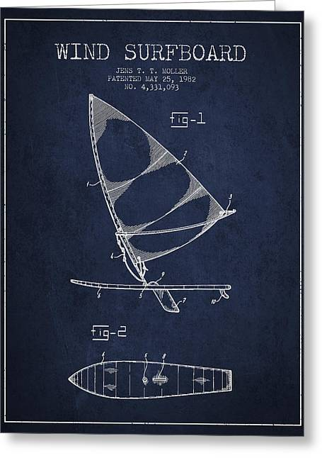 Surfer Art Greeting Cards - Wind Surfboard patent drawing from 1982 - Navy Blue Greeting Card by Aged Pixel