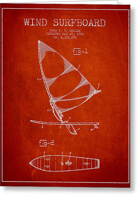 Surfer Art Greeting Cards - Wind Surfboard patent drawing from 1982 - Red Greeting Card by Aged Pixel