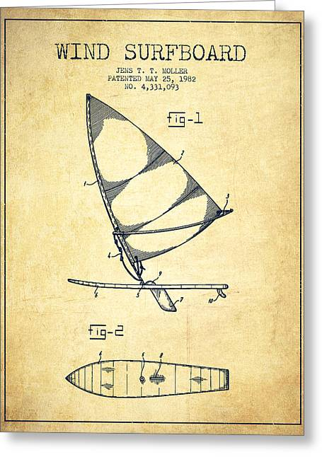 Surfer Art Greeting Cards - Wind Surfboard patent drawing from 1982 - Vintage Greeting Card by Aged Pixel