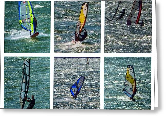 Wind Surfing Print Greeting Cards - Wind Surfers Collage Greeting Card by Susan Garren