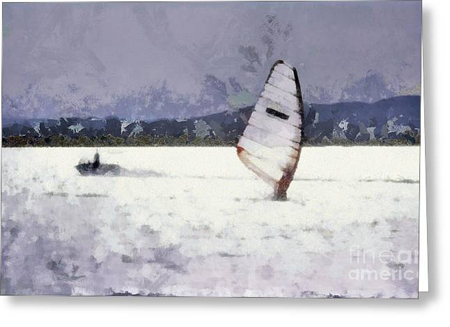 Surf Silhouette Paintings Greeting Cards - Wind Surfers On The Lake Greeting Card by Odon Czintos