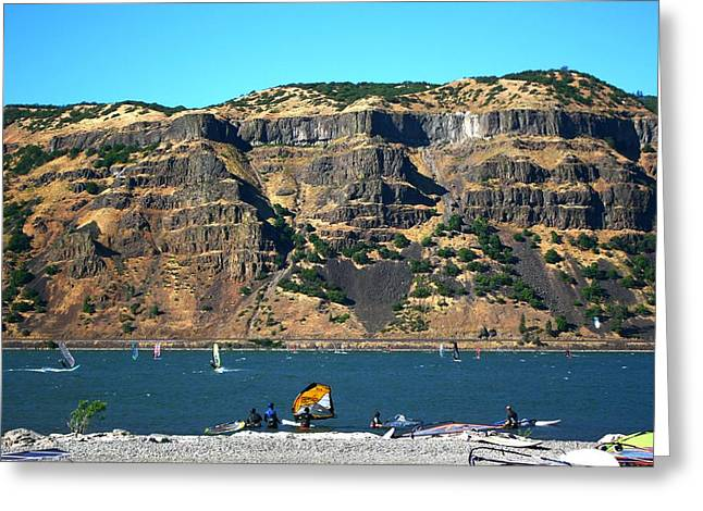 Wind Surfing Print Greeting Cards - Wind Surfing Columbia River Greeting Card by Veronica Vandenburg