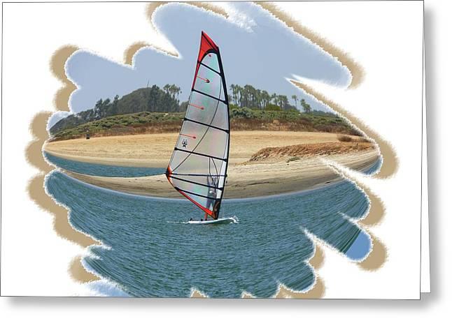 Wind Surfing Art Print Greeting Cards - Wind Surfing Fiesta Island Greeting Card by Scott Cameron