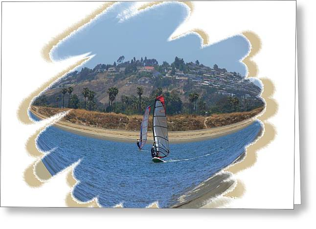 Surfing Art Greeting Cards - Wind Surfing San Diego 1 Greeting Card by Scott Cameron