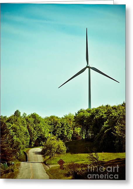 Environmental Conservation Greeting Cards - Wind Turbine along rural road Greeting Card by Amy Cicconi