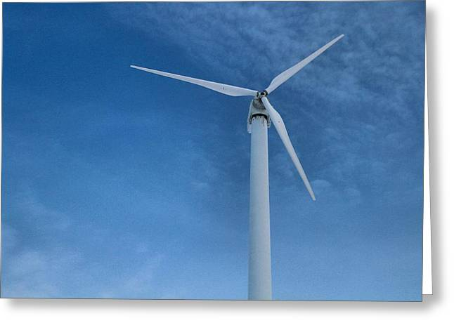 Kinetic Greeting Cards - Wind Turbine And Clean Energy Greeting Card by Dan Sproul