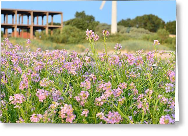Wind turbine and flowers Greeting Card by Gynt