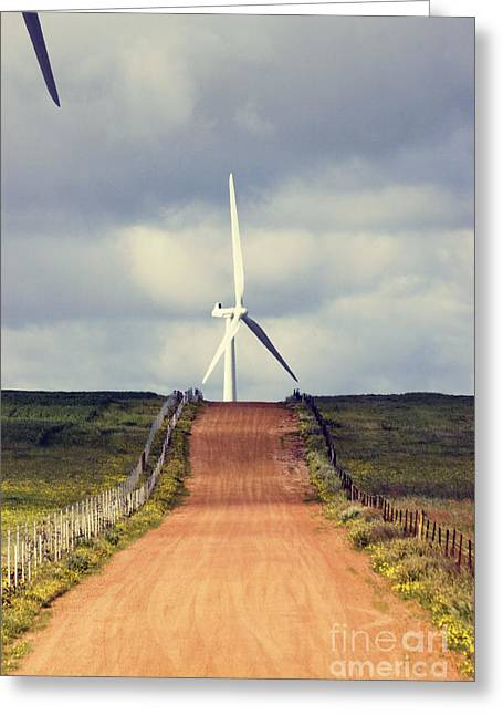 Green Power Greeting Cards - Wind Turbine and Red Dirt Road Greeting Card by Colin and Linda McKie