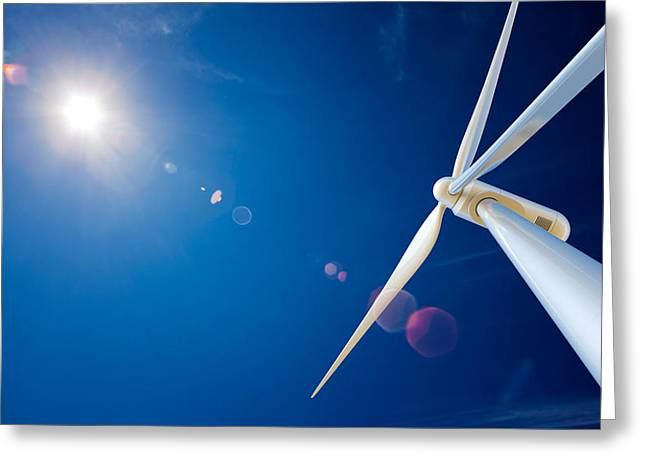 Electricity Greeting Card featuring the photograph Wind Turbine And Sun  by Johan Swanepoel