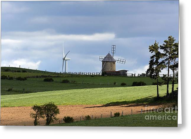 Wind Turbine And Windmill Greeting Card by Bernard Jaubert