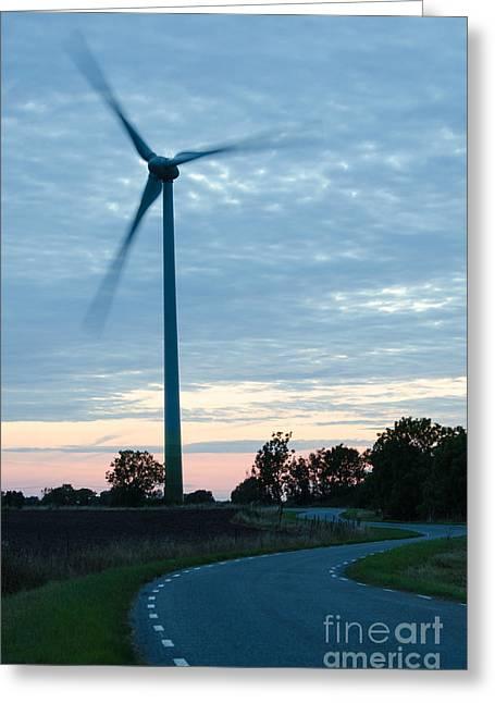 Generators Greeting Cards - Wind turbine at winding road  Greeting Card by Kennerth and Birgitta Kullman