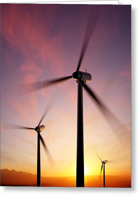Electricity Greeting Card featuring the photograph Wind Turbine Blades Spinning At Sunset by Johan Swanepoel