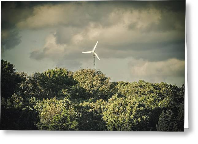 Alternative Home Decor Greeting Cards - Wind turbine Falmouth Cape Cod MA Greeting Card by Marianne Campolongo