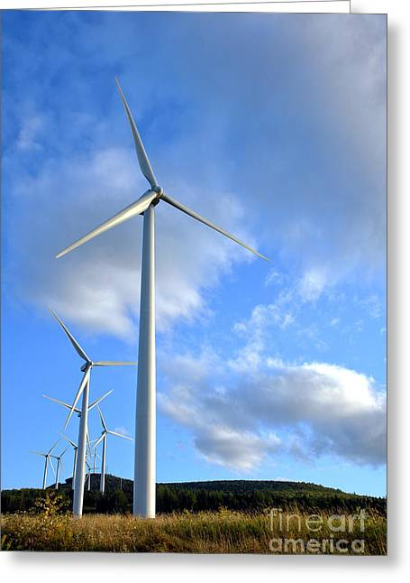 Windmills Greeting Cards - Wind Turbine Farm Greeting Card by Olivier Le Queinec