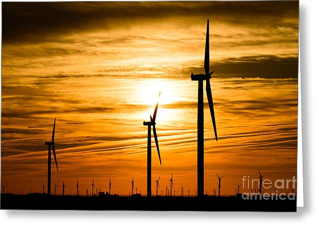 Indiana Landscapes Greeting Cards - Wind Turbine Farm Picture Indiana Sunrise Greeting Card by Paul Velgos