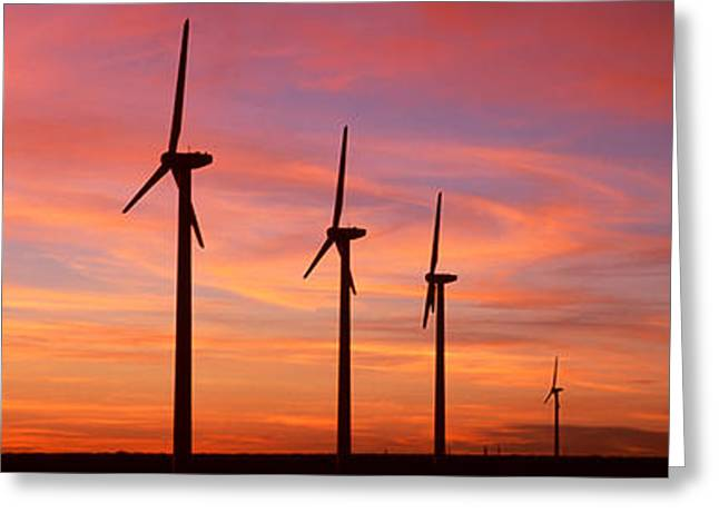 Wind Turbines Greeting Cards - Wind Turbine In The Barren Landscape Greeting Card by Panoramic Images