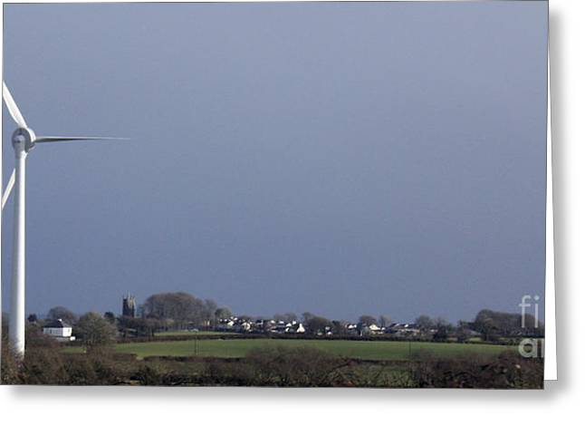 Generators Greeting Cards - Wind Turbine over the Church Greeting Card by Terri  Waters