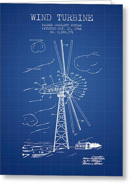 Renewable Energy Greeting Cards - Wind Turbine Patent from 1944 - Blueprint Greeting Card by Aged Pixel