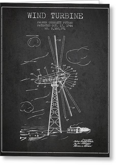 Winds Greeting Cards - Wind Turbine Patent from 1944 - Dark Greeting Card by Aged Pixel